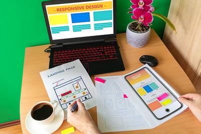 Web designer sketching a landing page.
