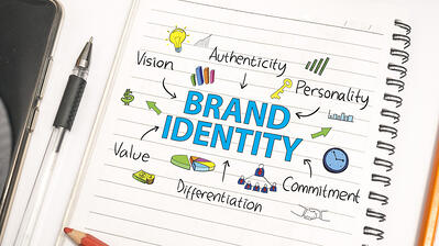 Notebook with the words Brand Identity.