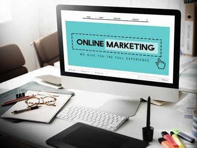 Desktop computer with an Online Marketing form displayed.