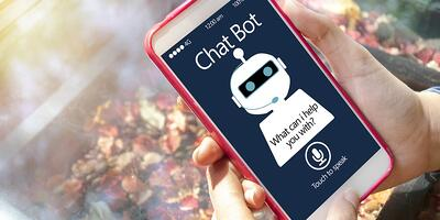 Mobile phone with a chat bot app.