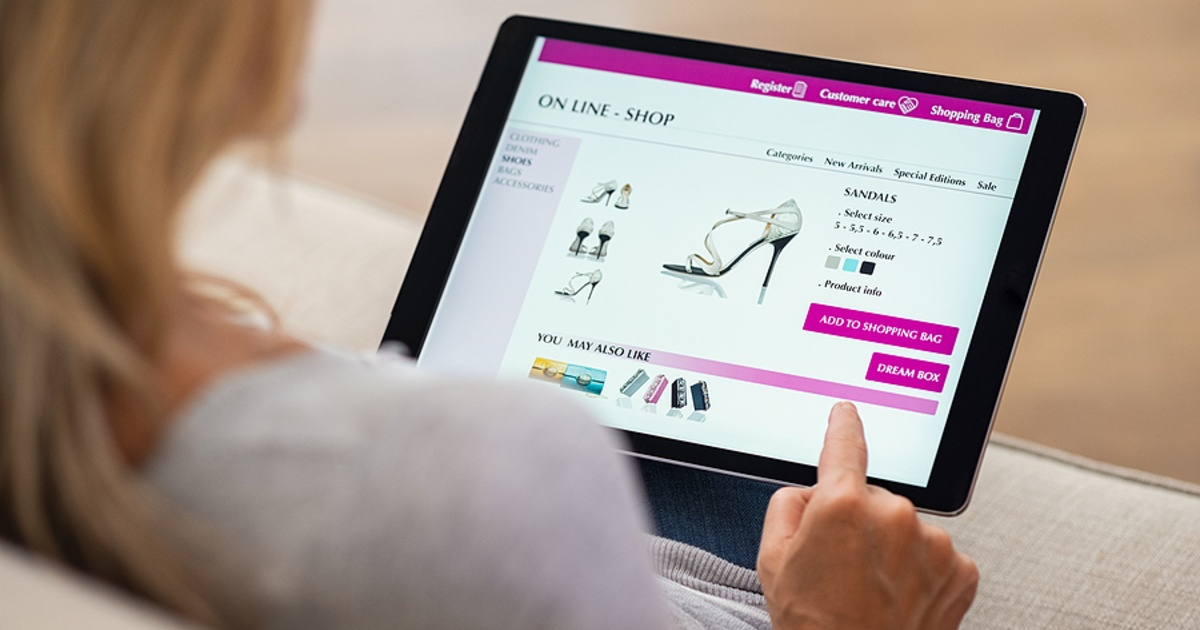 Shopping for shoes on a website.