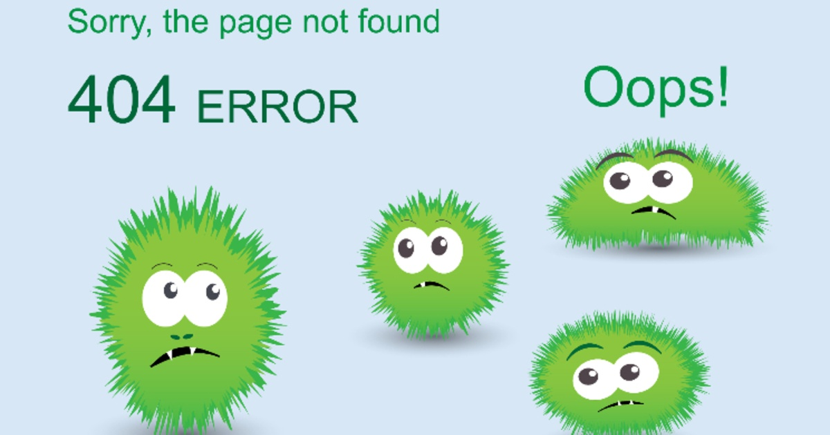 Sorry page not found message